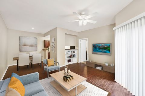 Living and Dining Room at Camden Valley Park Apartments in Irving, TX