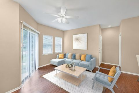 Living Room with Hardwood-Style Flooring at Camden Valley Park Apartments in Irving, TX