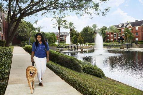 Walking Trail at Camden Vanderbilt Apartments in Houston, Texas