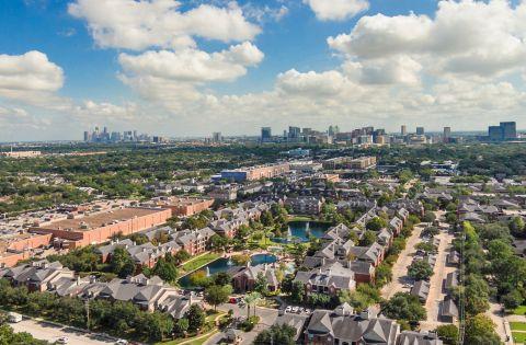 Aerial View of Camden Vanderbilt Apartments in Houston, TX