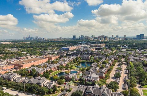 Aerial View of Camden Vanderbilt Apartments in Houston, TX