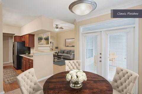 Dining Room and Kitchen Flow at Camden Vanderbilt Apartments in Houston, Texas