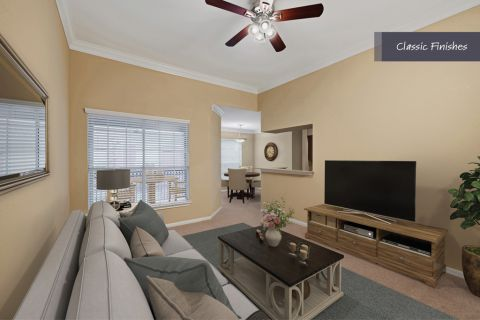 Living Room at Camden Vanderbilt Apartments in Houston, Texas