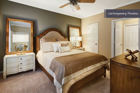 Bedroom with Contemporary Finishes at Camden Vanderbilt Apartments in Houston, Texas