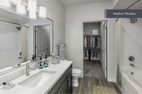 Bathroom with walk-in closet at Camden Vantage Apartments in Atlanta, GA