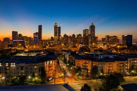 Downtown skyline views at dusk at Camden Vantage Apartments in Atlanta, GA