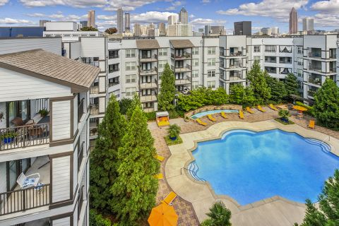 Swimming pool and Downtown Views at Camden Vantage Apartments in Atlanta, GA