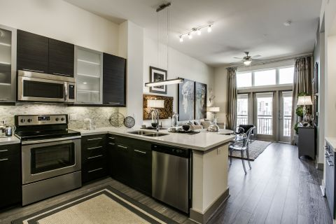 Modern Kitchen at Camden Victory Park Apartments in Dallas, TX