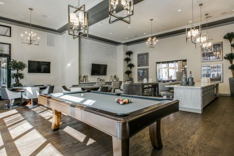 Rentable Lounge with Billiards at Camden Victory Park Apartments in Dallas, TX