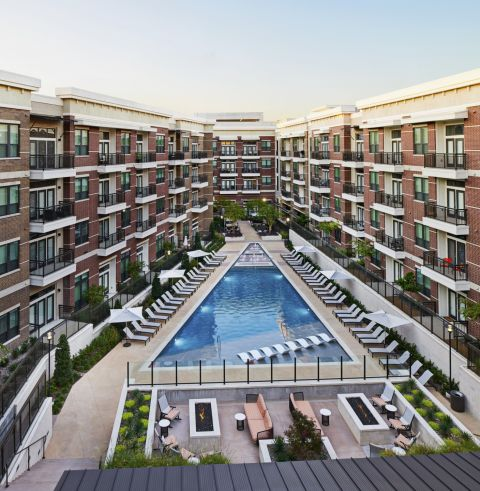 Resort-style Pool wit Sundeck at Camden Victory Park Apartments in Dallas, TX