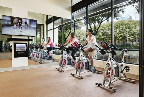 Fitness Center with Yoga Room at Camden Victory Park Apartments in Dallas, TX
