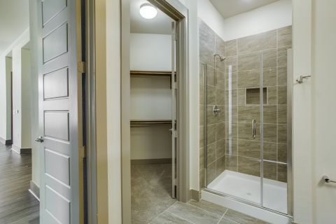 Walk-in Shower at Camden Victory Park Apartments in Dallas, TX