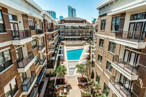 Pool with BBQ Grills at Camden Victory Park Apartments in Dallas, TX