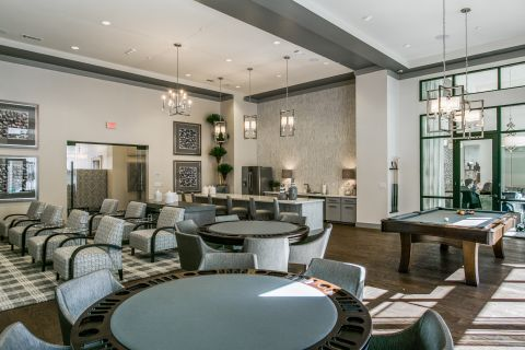 Game Room with Billiards and Poker Tables at Camden Victory Park Apartments in Dallas, TX
