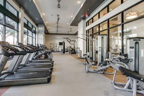 Free Weights in the Fitness Center at Camden Victory Park Apartments in Dallas, TX