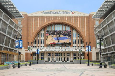 American Airlines Center across from Camden Victory Park Apartments in Dallas, TX