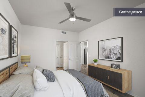 Bedroom with ensuite bathroom at Camden Vineyards Apartments in Murrieta, CA