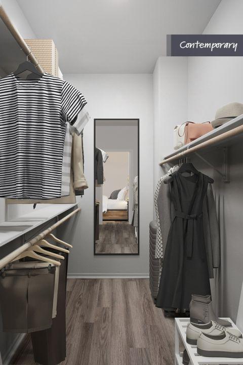 Walk-in closet with wood shelves at Camden Vineyards Apartments in Murrieta, CA