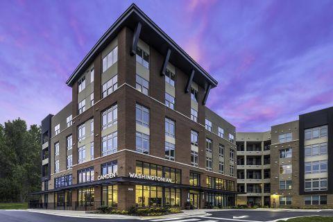 Sunset Exterior View at Camden Washingtonian Apartments in Gaithersburg, MD