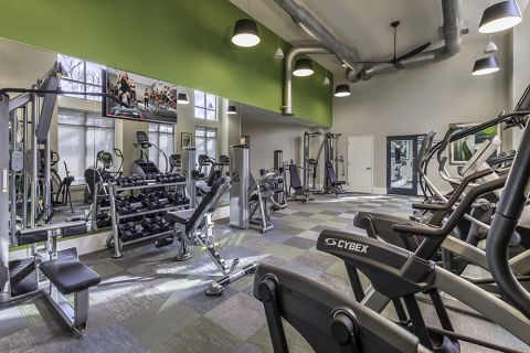 Fitness Center with Cardio Equipment and Free Weights at Camden Washingtonian Apartments in Gaithersburg, MD