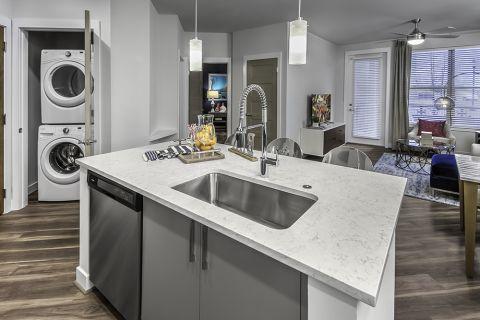 Kitchen Island with Silestone Quartz Countertops at Camden Washingtonian Apartments in Gaithersburg, MD