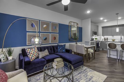 Open-Concept Living Dining and Kitchen at Camden Washingtonian Apartments in Gaithersburg, MD