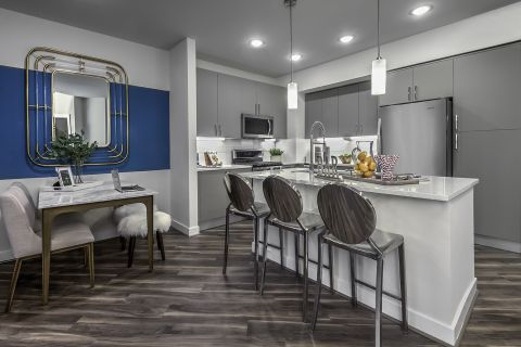 Open Concept Kitchen and Living Room with Island at Camden Washingtonian Apartments in Gaithersburg, MD