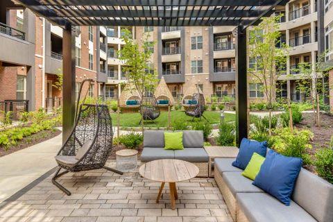 Outdoor Zen Courtyard at Camden Washingtonian Apartments in Gaithersburg, MD