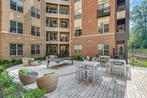 Outdoor Ping Pong Courtyard at Camden Washingtonian Apartments in Gaithersburg, MD