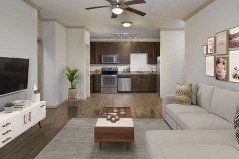 Living Room at Camden Waterford Lakes Apartments in Orlando, FL