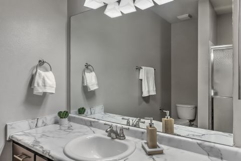 Bathroom at Camden Westwood Apartments in Morrisville, NC