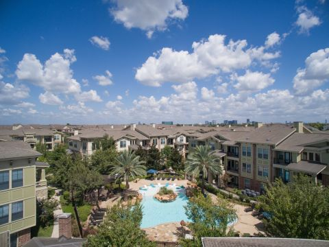 Aerial View of Pool at Camden Whispering Oaks Apartments in Houston, TX