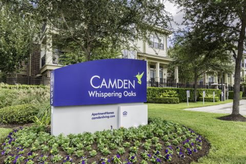 Monument Sign at Camden Whispering Oaks Apartments in Houston, TX