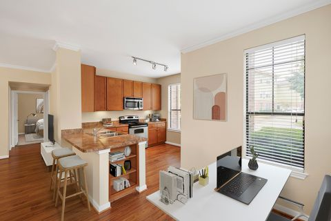 Kitchen and Home Office Space at Camden Whispering Oaks Apartments in Houston, TX
