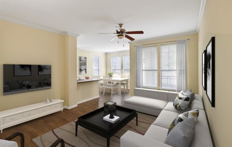 Spacious Living Room at Camden Whispering Oaks Apartments in Houston, TX