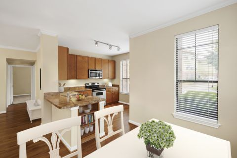 Kitchen and Dining Room at Camden Whispering Oaks Apartments in Houston, TX