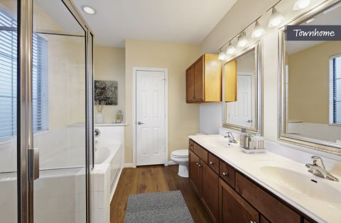 Bathroom with Separate Shower and Bath Tub at Camden Whispering Oaks Apartments in Houston, TX