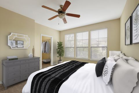 Bedroom at Camden Whispering Oaks Apartments in Houston, TX