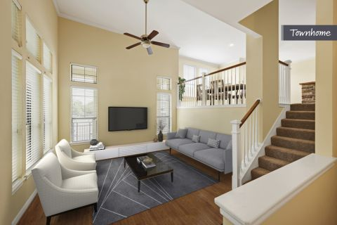 Townhome Living Room with High-Ceilings at Camden Whispering Oaks Apartments in Houston, TX