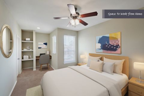 Bedroom with Home Office Space at Camden Woodson Park Apartments in Houston, TX