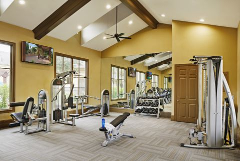 Fitness Center with Free Weights at Camden Woodson Park Apartments in Houston, TX
