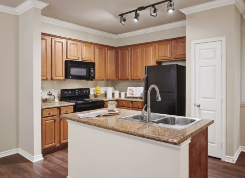 Kitchen with Wood Look Flooring at Camden Woodson Park Apartments in Houston, TX