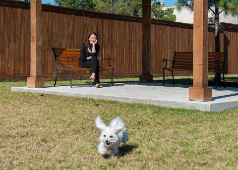 Dog Park with Covered Seating at Camden Yorktown Apartments in Houston, TX