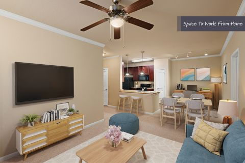 Living Room and office space at Camden Yorktown Apartments in Houston, TX