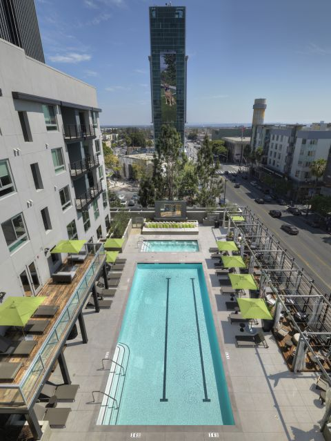 Swimming Pool with Cabanas at The Camden Apartments in Hollywood, CA