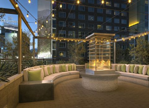Outdoor Fireplace Lounge at The Camden Apartments in Hollywood, CA