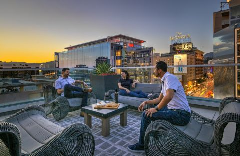 Rooftop Deck and Social Lounge at The Camden Apartments in Hollywood, CA