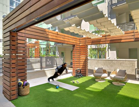 Outdoor Exercise Space at The Camden Apartments in Hollywood, CA