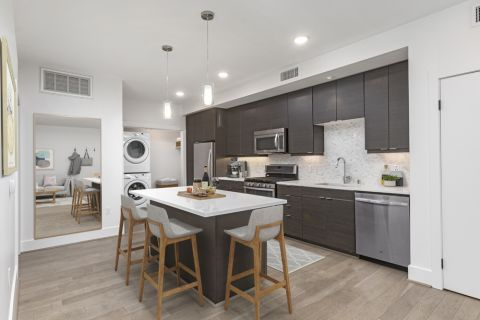 Spacious kitchen with stainless steel appliances at The Camden Apartments in Hollywood, CA