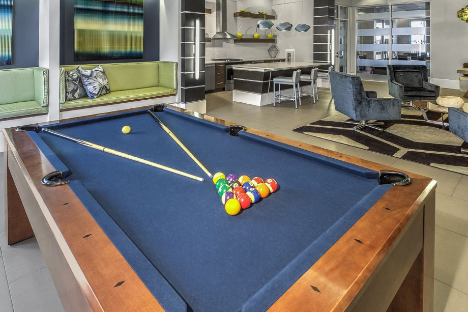 Resident Lounge with Billiards at Camden Belleview Station Apartments in Denver, CO